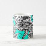 Boho black white hand drawn floral doodles pattern basic white mug