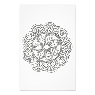 Boho black white mandala floral ornament coloring stationery paper