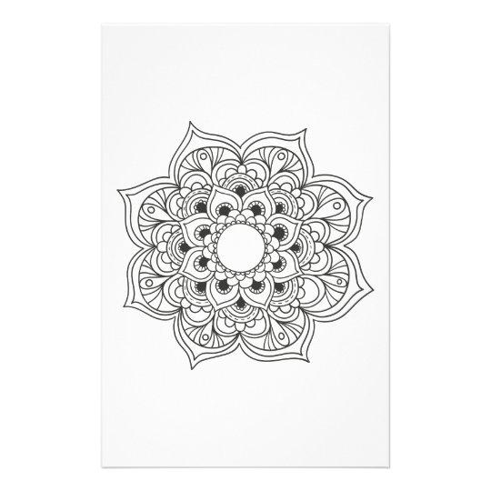 Boho black white mandala floral ornament colouring stationery