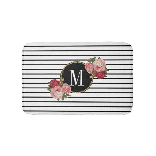 Boho Black White Striped Vintage Floral Monogram Bath Mat
