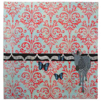 Boho Blue Butterflies &  Zebra Damask American MoJ Cloth Napkin