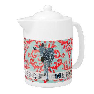 Boho Blue Butterflies & Zebra Damask  Teapot