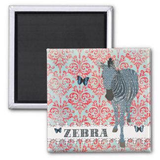 Boho Blue Butterflies & Zebra  Magnet