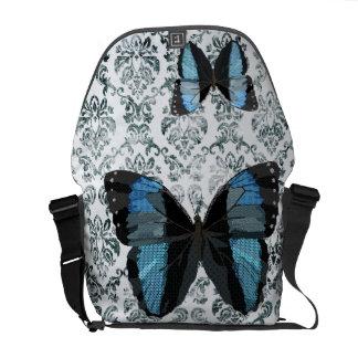 Boho Blue Butterfly  Messenger Bag