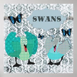 Boho Blue Swans Butterflies Grunge Damask Poster