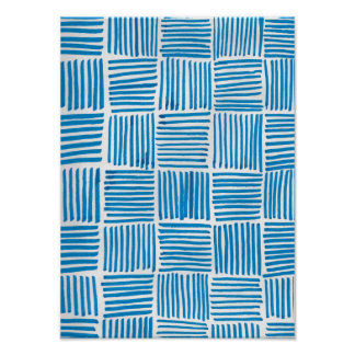Boho Blue Texture Art Poster Print