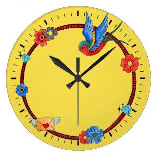 Boho Bluebird Wall Clock