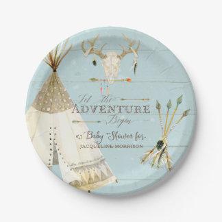 BOHO BlueTeepee Arrows Deer Antler Baby Boy Shower Paper Plate