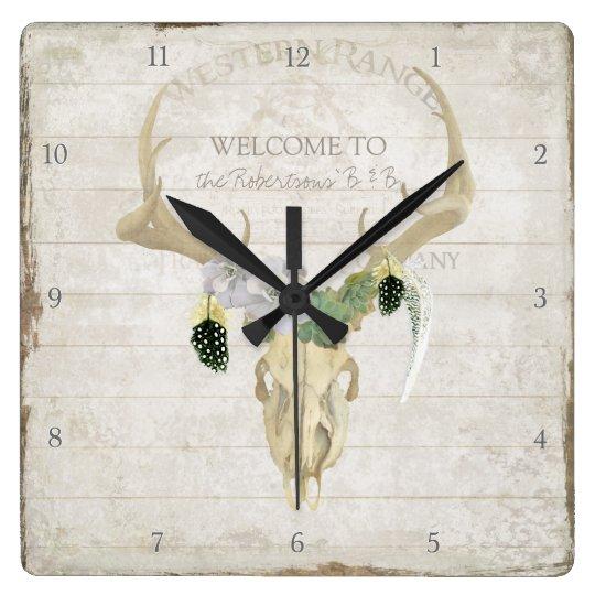 Boho Bohemian Deer Antler Western Desert Skull Art