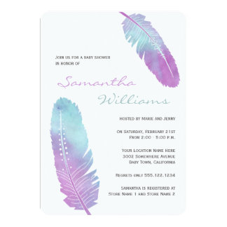 Boho Bohemian Feather Purple Baby Shower 5x7 Paper Invitation Card