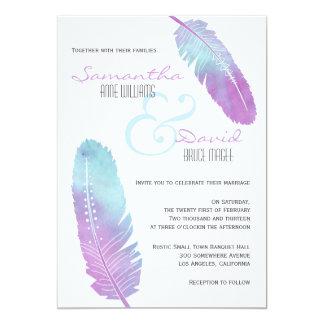 Boho Bohemian Feather Wedding Purple and Blue 13 Cm X 18 Cm Invitation Card