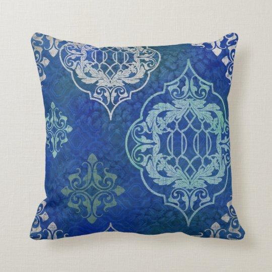 BOHO Bohemian Moroccan Tile Watercolor Blue Aqua Cushion