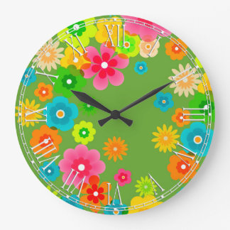 Boho Bohemian Retro Colorful Floral Flowers Large Clock