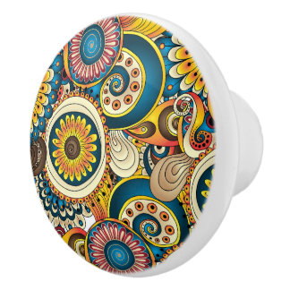 Boho Bohemian Retro Colorful Pattern Ceramic Knob