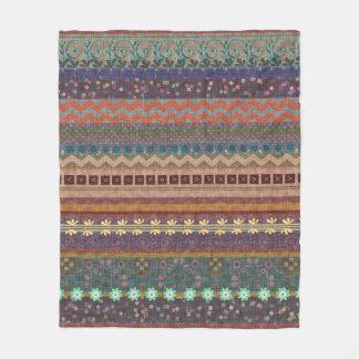 Boho Bohemian Retro Colorful Pattern Fleece Blanket