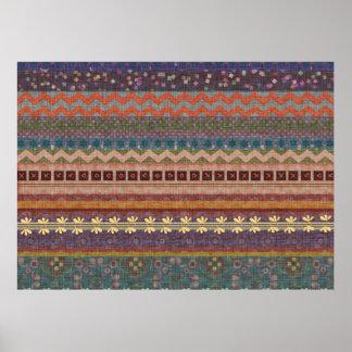 Boho Bohemian Retro Colorful Pattern Poster