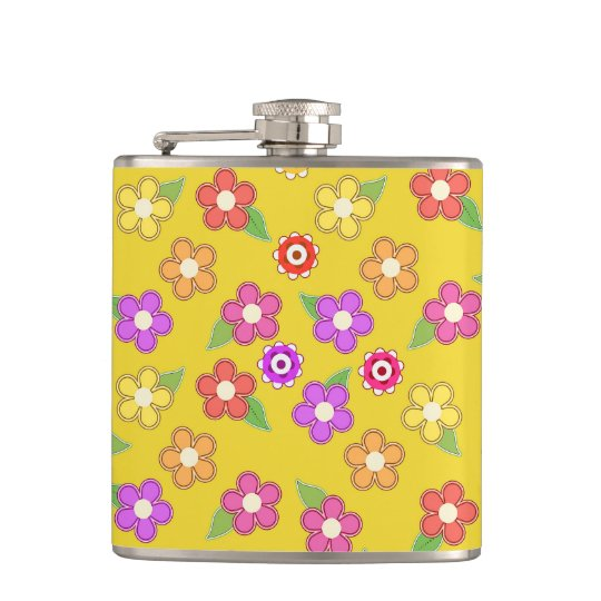 Boho Bohemian Retro Colourful Floral Flowers Hip Flask