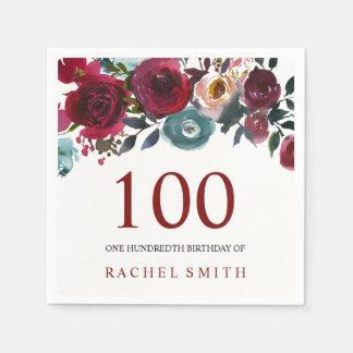 Boho Bordo Burgundy Red Flowers 100th Birthday Paper Napkins