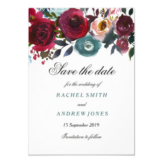 Boho Bordo Burgundy Red Flowers Save the date Card