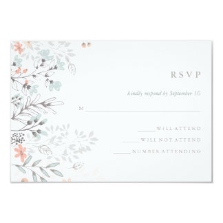 Boho Botanical Rustic Wedding Coral and Gray RSVP Card