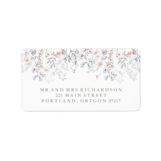 Boho Botanical Rustic Wedding in Coral and Gray Address Label