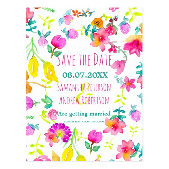 Boho bouquet floral watercolor save the date postcard
