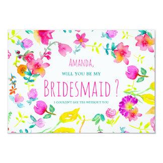 Boho bouquet floral watercolor wreath bridesmaid 9 cm x 13 cm invitation card
