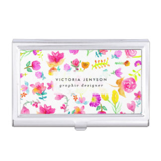 Boho bouquet hand painted watercolor floral business card holder