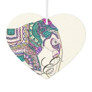 Boho bright watercolor tribal henna elephant car air freshener