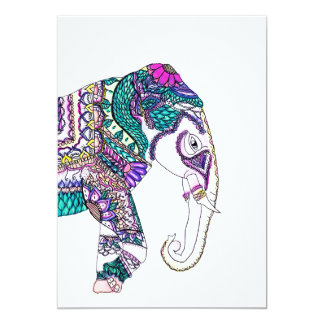 Boho bright watercolor tribal henna elephant card