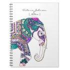 Boho bright watercolor tribal henna elephant notebook