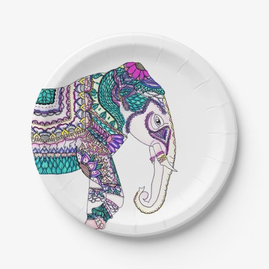 Boho bright watercolor tribal henna elephant paper plate