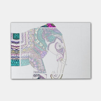 Boho bright watercolor tribal henna elephant post-it notes