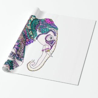 Boho bright watercolor tribal henna elephant wrapping paper