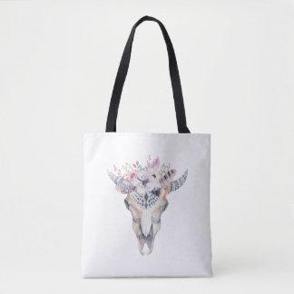 Boho Bull Skull & Floral Bouquet Tote Bag