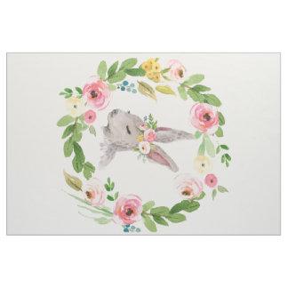 Boho Bunny Rabbit Woodland Floral Nursery Fabric