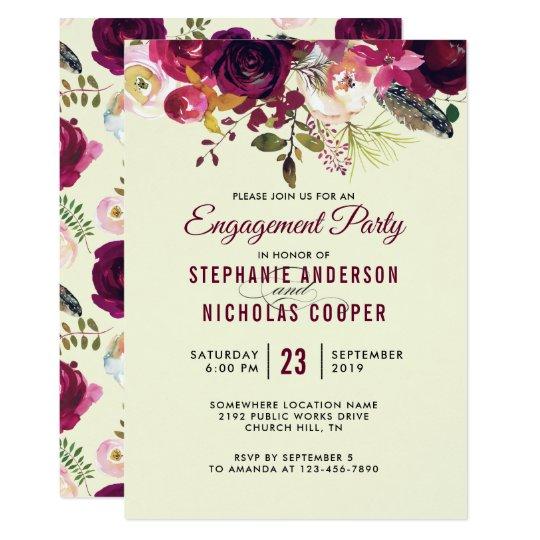 Boho burgundy beige watercolor wedding card