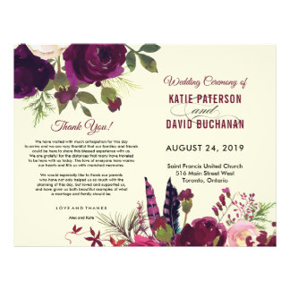 Boho burgundy beige watercolor wedding flyer