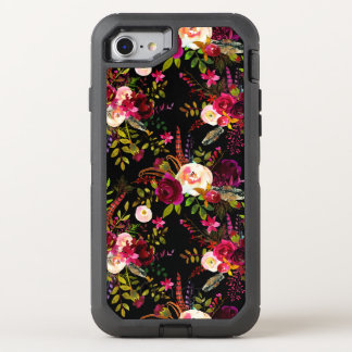 Boho burgundy marsala floral on black OtterBox defender iPhone 8/7 case