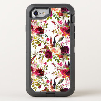 Boho burgundy marsala floral on white OtterBox defender iPhone 8/7 case