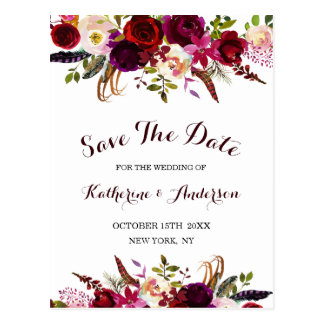 Boho Burgundy Marsala Floral Wedding Save the Date Postcard