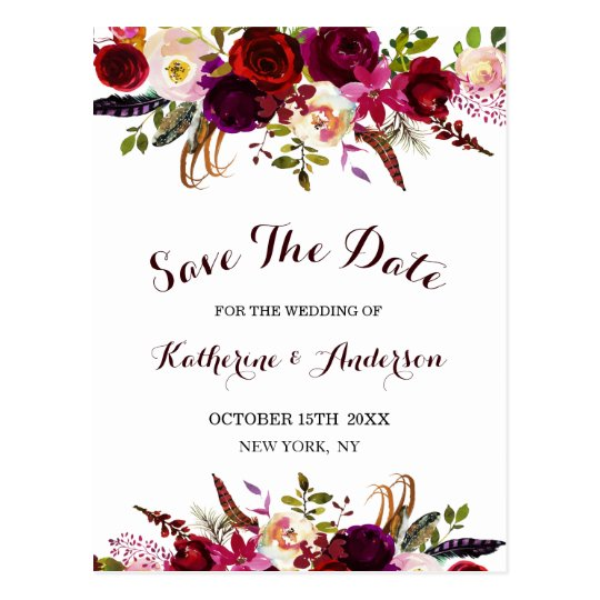 Boho Burgundy Marsala Floral Wedding Save the Date
