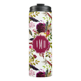 Boho Burgundy Marsala Watercolor Floral monogram Thermal Tumbler