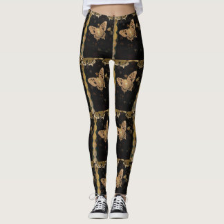 Boho Butterfly and Lace Vintage Colors on Black Leggings