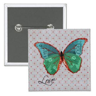 Boho Butterfly Love Button
