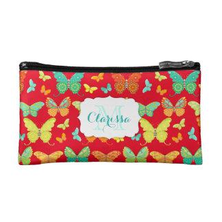 Boho Butterfly Parade Custom Name & Monogram Cosmetic Bag