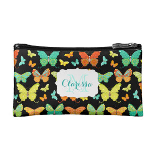 Boho Butterfly Parade Custom Name & Monogram Cosmetic Bag