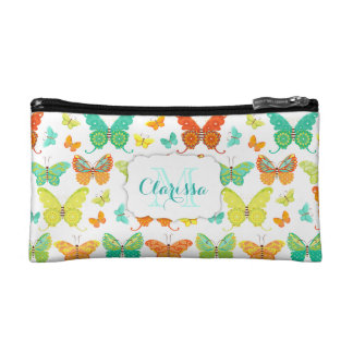 Boho Butterfly Parade Custom Name & Monogram Cosmetics Bags