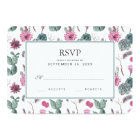 Boho Cactus, Succulent & Floral - Wedding RSVP Card