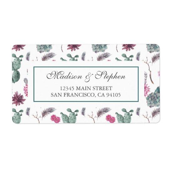 Boho Cactus, Succulent & Floral -  Wedding Shipping Label